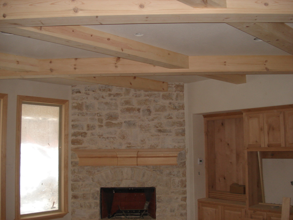 Pine Box Beams Coffered Ceiling
